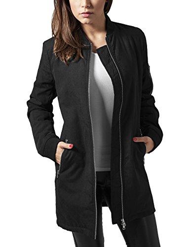 Urban Classics Damen Ladies Peached Long Bomber Jacket Jacke, Schwarz (Black 7), 36 (Herstellergröße: S)
