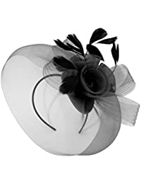 Caprilite Wedding Races Party Fascinator Veil Net Hat With Cones and  Feathers Hatinator 76a351a8b464