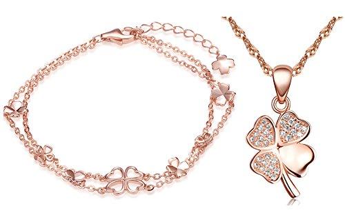 Yumilok Roségold 925 Sterling Silber Zirkonia Vierblättriges Kleeblatt Charm Armband Halskette Schmuck Set Armkette & Kette mit Anhänger Set für Damen Mädchen