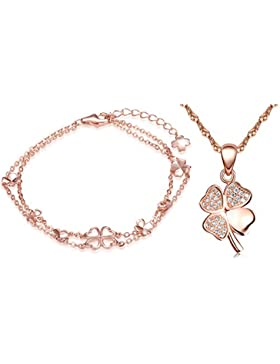 Yumilok Roségold 925 Sterling Silber Zirkonia Vierblättriges Kleeblatt Charm Armband Halskette Schmuck Set Armkette...