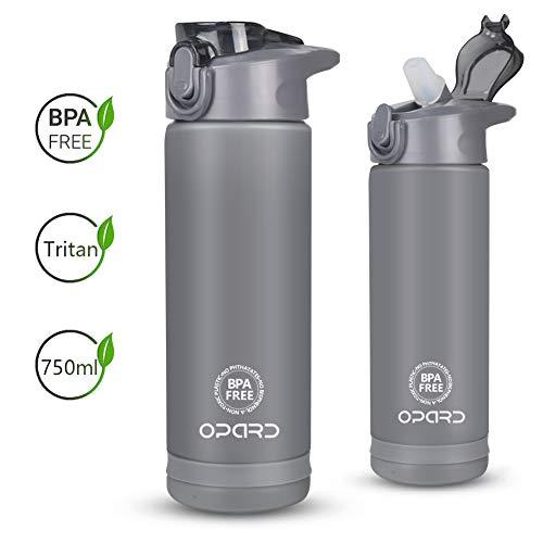Opard Trinkflasche mit strohhalm - Wasserflasche 750ml - auslaufsichere Sportflasche aus Tritan BPA Frei - ideale Sporttrinkflasche für Kinder, Sport, Fitness, Fahrrad, Fußball, Outdoor (Grau)