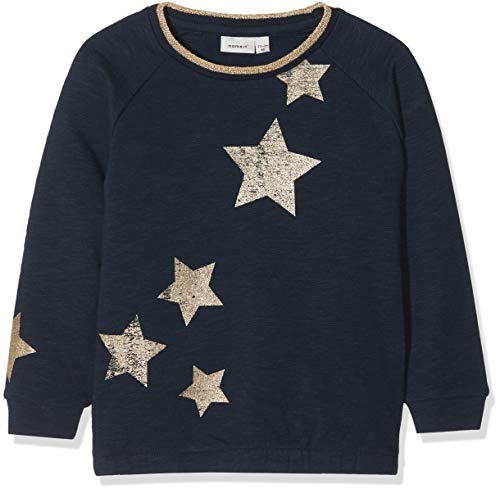 NAME IT Mädchen Sweatshirt NMFRASTARRY Sweat BRU, Blau Dark Sapphire, 92