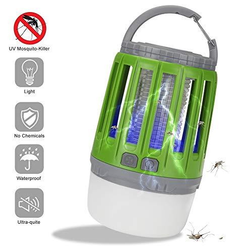 FGART LED Lámpara Eléctrica Anti Mosquitos 2 En 1 USB Recargable Lámpara De Camping Anti-Mosquitos Zapper IP67 Impermeable Lámpara De Asesino del Mosquito Al Aire Libre Portátil,Verde