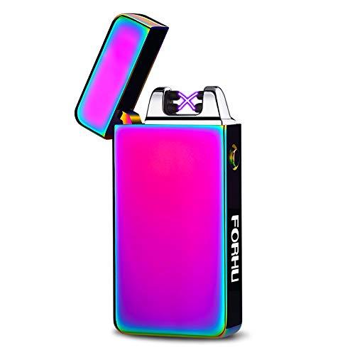 Feuerzeug Elektronisch, FORHU USB lichtbogen Winddichtes Feuerzeug Mit Doppel Aufladbar (Rainbow ice)
