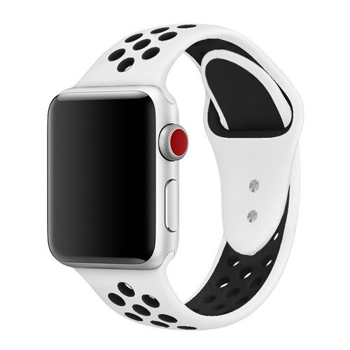 jwacct Apple Watch armband 42mm, Weiches Silikon Sport Ersatzarmband Uhrenarmband verstellbares Armband für iWatch Apple Watch Series 1/2/3 S/M Weiß/Schwarz