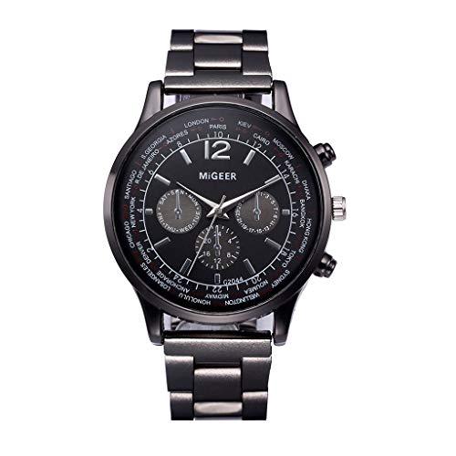 Männer Armbanduhr FGHYH Herren Luxusuhren Quarzuhr Edelstahl Zifferblatt Beiläufige Armbanduhr(A-18)