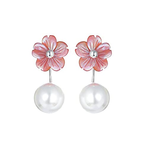 S925 Boucles d'oreilles fleurs aiguille Shell Pearl Earrings,Tremella Pink