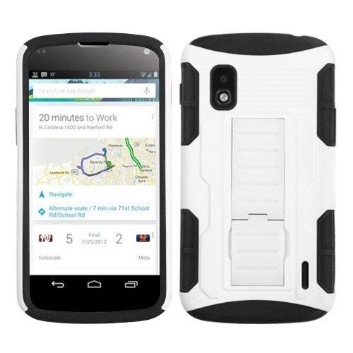 ülle für LG E960 / Nexus 4, gummiert, Standfunktion, Einzelhandelsverpackung, White/Black Car ()