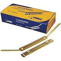 Umec 129386 - Pack de 100 fasteners metálicos, color dorado