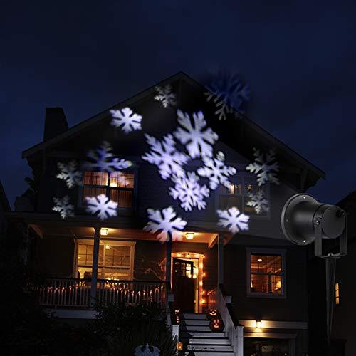 LED Projektor Lichter,LED Projektionslampe Weiß Snowflake Landschaft Weihnachts Wandstrahler Außenstrahler Lichteffekte dynamische Motive, Party Licht, Gartenlicht für Festen DJ Xmas - 6