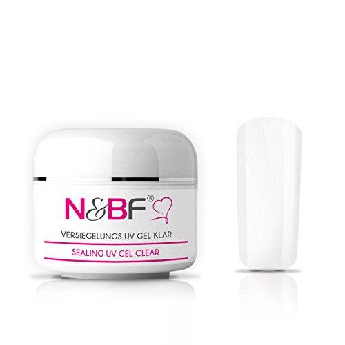 N&BF Versiegelungsgel – Finish-Gel – Glanzgel – Abschlussgel – Hochglanz UV Gel für Gelnägel mittelviskos (15ml, Klar)