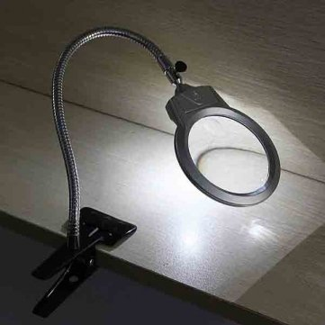 Preisvergleich Produktbild [Kostenlose Lieferung] 2.25 x 5 X LED Lupe Tisch Schreibtisch Lampe Lupe mit Klemme // 2.25X 5X LED Magnifying Table Desk Lamp Magnifying Glass with Clamp