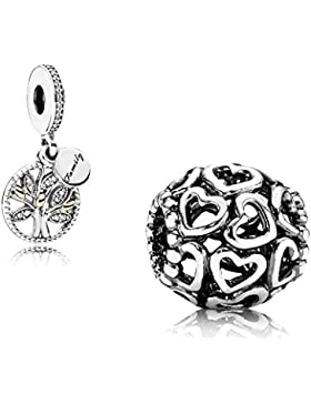 Original Pandora Geschenkset - 1 Silber Charm Öffne Dein Herz 790964 und 1 Bicolor Pendel Familien Stammbaum 791728CZ