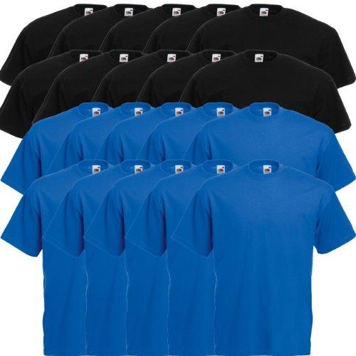 Fruit of the Loom Original Valueweight T Rundhals T-Shirt F140 5er 10er 15er 20er Pack 10 black 10x royal blue
