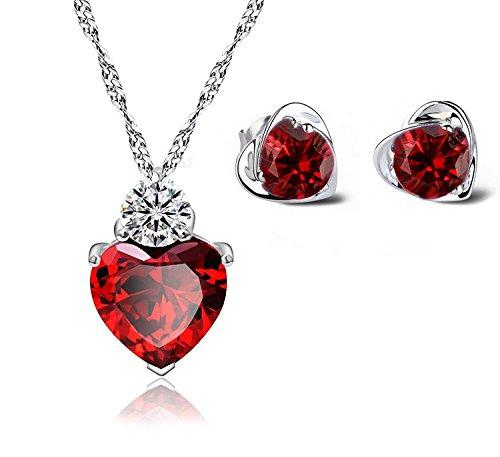 Damen Swarovski Elements Sterling Silber Hear-Anhänger-Halskette + Passende Ohrstecker, Simulierte Ruby Red (Hypoallergen Ohrringe Ruby)