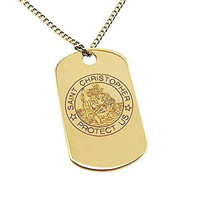 "Solid 9ct Yellow Gold Engraved St Christopher Dog Tag Pendant With Optional 9ct Yellow Gold 1.6mm Wide Diamond Cut Curb Chain In Gift Box (available in 16"" to 24"")"