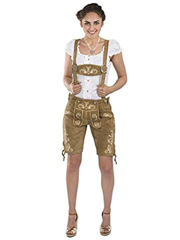 Damen Wiesnzauber Trachtenlederhose - mittellange Trachten Lederhosen - Lederhose Alternative zum Dirndl - sexy Hose Trachtenhose (44, Hellbraun)