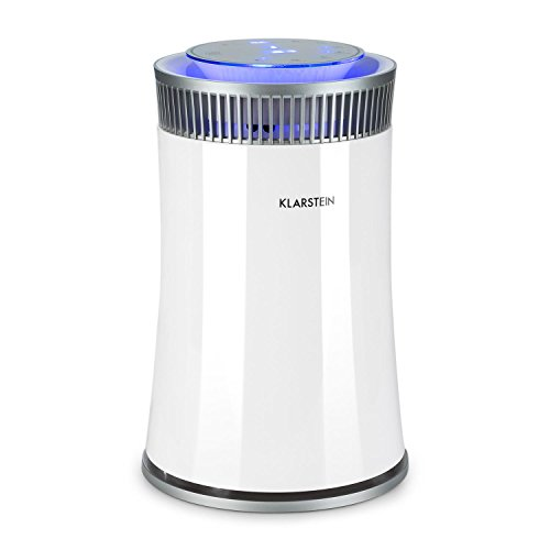 Klarstein • Arosa • Purificador de aire • Ionizador • Lámpara UV • Modo automático y manual • Función dormir • Filtro intercambiable • Espacios hasta 20 m2 • Silencioso 56 dB • Indicador LED • Bajo consumo • Panel táctil • Elimina olores • Blanco