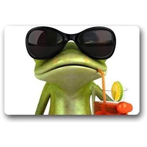 Divertente Rana con occhiali Custom antiscivolo lavabile in lavatrice Decor Bagno Indoor/Outdoor Doormat 23.6