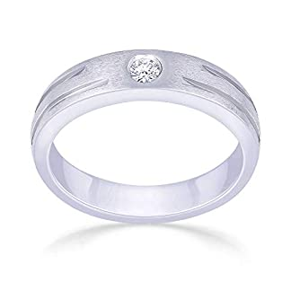 Malabar Gold and Diamonds 18KT White Gold and Diamond Ring for Men