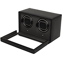 Wolf Cub Double Black Leather Watch Winder with Cover
