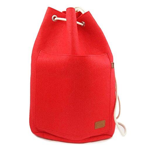 Venetto Sportrucksack Rucksack Sack Turnbeutel Beutel aus Filz für Sport, Fußball, Schule, Wandern, sehr leicht mit Schuhfach backpack unisex (Grün dunkel) Rot