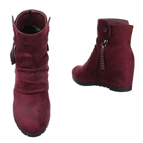 Keilstiefeletten Damen Schuhe Plateau Keilabsatz/ Wedge Leicht Gefütterte Reißverschluss Ital-Design Stiefeletten Bordeaux