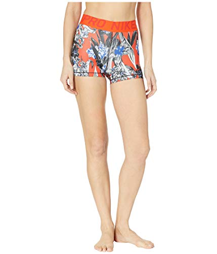 Nike Damen Pro 3'' Short, White/Team Orange/Mystic Red, L -