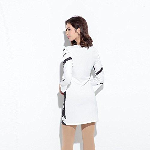 Bluestercool Femmes En vrac Robe à manches longues Imprimer Robe décontractée Blanc Blanc