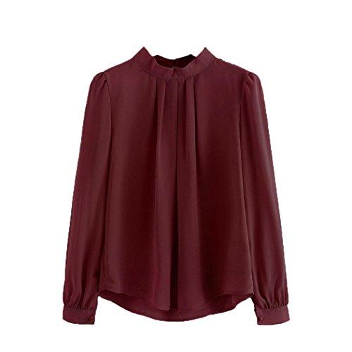 Kragen Twin-set (Bluse Damen, DoraMe Frauen Halbhohe Kragen Chiffon Bluse Laterne Ärmel Shirt Locker Lässig Hemd (2XL, Weinrot))