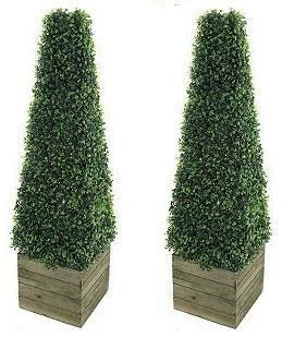 2 x Exclusive Artificial Fake Trees 3ft Pyramid Cones Indoor outdoor Topiary trees all weather