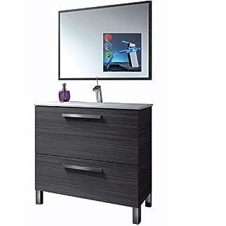 Mueble Baño + Espejo + Lavabo Ceramica con Grifo Moderno Cascada LED RGB Cambio Color