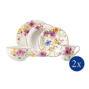 Villeroy & Boch Mariefleur Basic Dinner Set for up to 2 people, 10 pieces, Premium Porcelain, White/Coloured