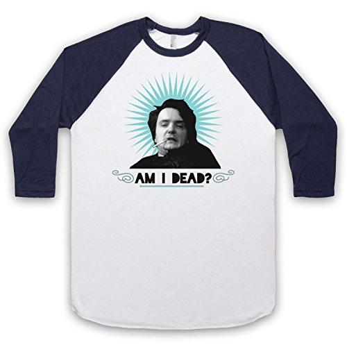 Inspiriert durch Black Books Am I Dead Unofficial 3/4 Hulse Retro Baseball T-Shirt Weis & Ultramarinblau
