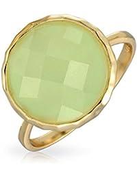 Bling Jewelry Anillo Estilo Vintage Oro Vermeil 14k con Piedra Calcedonia de Color Verde Espuma de Mar