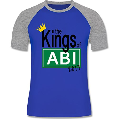 Abi & Abschluss - The Kings of Abi 2017 - zweifarbiges Baseballshirt für Männer Royalblau/Grau meliert
