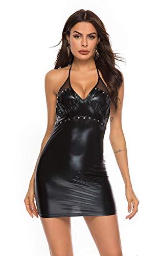 rz Kunstleder Bodycon Sling ärmelloses Kleid, Damen Sexy Shiny Party Cosplay Outfit,XXL ()