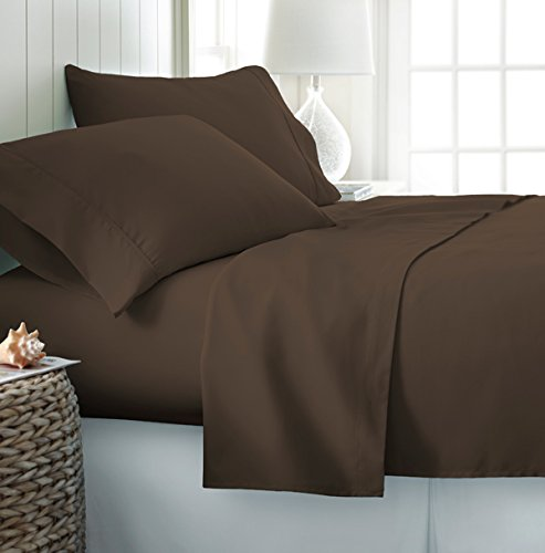 Comfy Deal 4 Stück Premium Bambus, umweltfreundlich, antimikorbiell. Bettlaken-Set für Oversize und Tiefe Taschen, faltenfrei Traditionell King kaffeebraun -