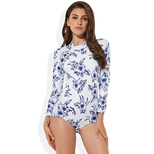 YUHUISTART Badeanzug Damen Elegante Blumen Muster Rash Guard Reißverschluss Wetsuit Neoprenanzug Tauchanzug für Surf, Kayak, Bodyboard(Mehrfarbig,XL)