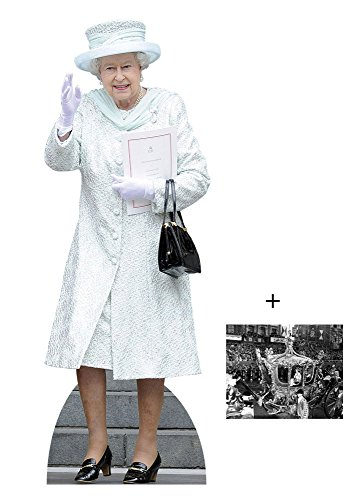 Queen Elizabeth II in White Coat Lebensgrosse Pappaufsteller mit 25cm x 20cm foto (Party Dekorationen British)