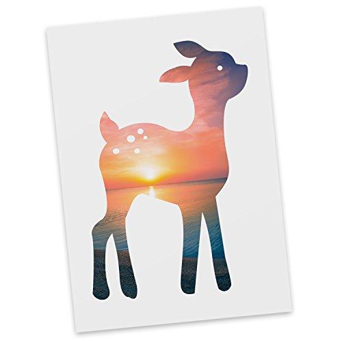 Mr. & Mrs. Panda Ansichtskarte, Einladung, Postkarte REH - Farbe Sonnenuntergang