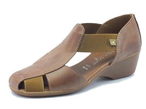 Mocassini per donna Cinzia Soft in pelle marrone zeppa 4cm Bark