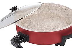 Schaefer XXL Pizzapfanne 40 x 7 cm 1500 Watt mit mamorierter Keramik Beschichtung (Rot)