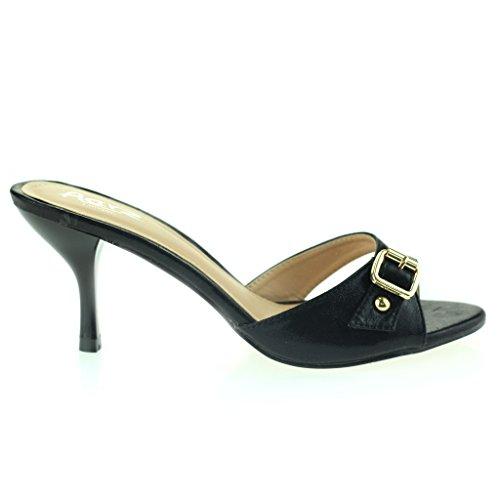 Femmes Dames Boucle Embellie Enfiler Mince Milieu Talon Soirée Fête Casual Sandales Chaussures Taille Noir