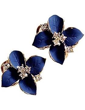 fablcrew Blume Elegant Blau Blume Kristall Ohrstecker Ohrringe für Damen Mädchen Frauen Schmuck Geschenk 2