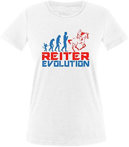 EZYshirt® Reiter Evolution Damen Rundhals T-Shirt Weiß/Blau/Rot
