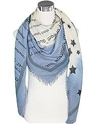 Mevina XXL Damen Schal Karo Stern Anker Jacquard groß quadratisch Halstuch Baumwolle kariert Muster Oversized