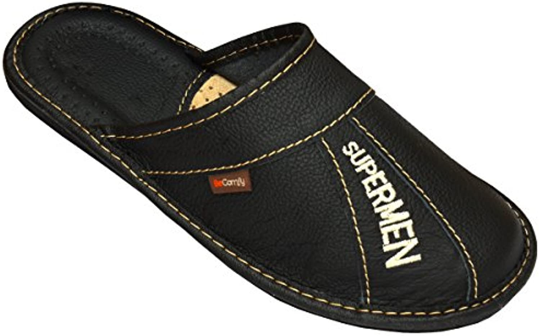 BeComfy Herren Hausschuhe Leder Pantoffeln Supermen Relax Suede Wildleder Schwarz Geschenkkarton (Wahlweisse)