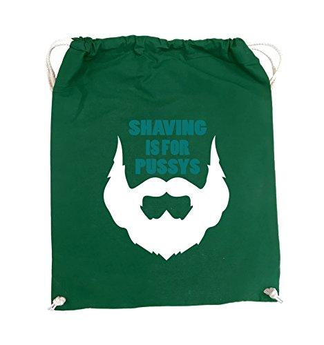 Comedy Bags - SHAVING IS FOR PUSSYS - Turnbeutel - 37x46cm - Farbe: Schwarz / Weiss-Neongrün Dunkelgrün / Türkis-Weiss