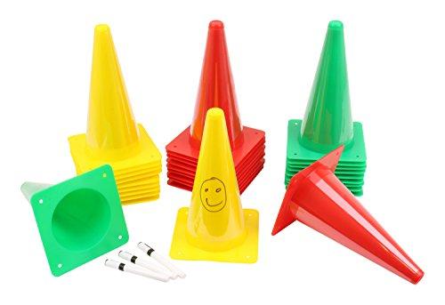 10 cônes inscriptibles - avec crayon - 23 cm jaune - 30 cm jaune - 23 cm rouge - 30 cm rouge - 30 cm vert